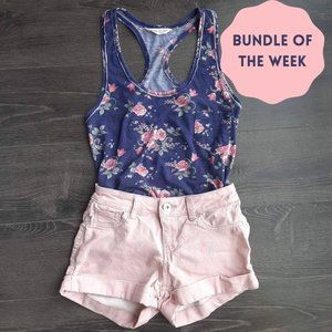 Floral Racerback Tank and Pink High Waist Shorts